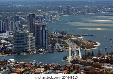 GOLD COAST, AUS - NOV 14 2014:Southport skyline and Sundale Bridge in Gold Coast Queensland, Australia. It has the largest area of office space at 103,818 m���².