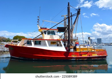 GOLD COAST, AUS - OCT 16 2014:Fishing trawlers mooring at Gold Coast Fishermen's Co-Operative.Since 2008 the Gold Coast fishermen selling their catch direct to the public from the boat at low price.