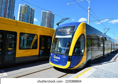 GOLD COAST, AUS - OCT 17 2014:Gold Coast Light Rail G  in Southport CBD Gold Coast Queensland, Australia.The line opened on July 2014 and it 13 Km (8.1 mi) long.