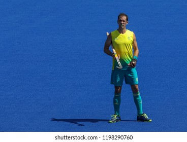 GOLD COAST, AUSTRALIA - APRIL 03, 2018 : Mark Knowles of Australia in action during Men Hockey match Gold Coast 2018 Commonwealth Games at Gold Coast Hockey Centre.