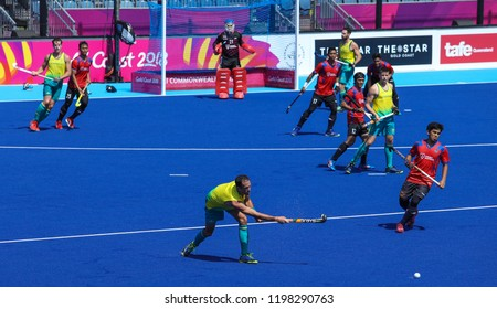 GOLD COAST, AUSTRALIA - APRIL 03, 2018 : Mark Knowles (C) of Australia in action during Men Hockey match Gold Coast 2018 Commonwealth Games at Gold Coast Hockey Centre.