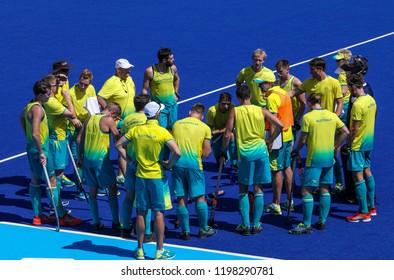 GOLD COAST, AUSTRALIA - APRIL 03, 2018 : Australia hokcey team during Men Hockey match Gold Coast 2018 Commonwealth Games at Gold Coast Hockey Centre.