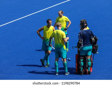 GOLD COAST, AUSTRALIA - APRIL 03, 2018 : Mark Knowles (L) of Australia in action during Men Hockey match Gold Coast 2018 Commonwealth Games at Gold Coast Hockey Centre.