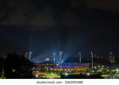 GOLD COAST, AUSTRALIA - APRIL 04, 2018:  Metricon stadium where opening ceremony of the XXI Commonwealth Games took place