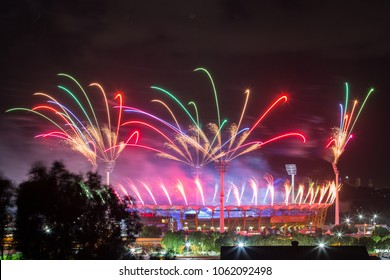 GOLD COAST, AUSTRALIA - APRIL 04, 2018:  Fireworks over Metricon stadium where opening ceremony of the XXI Commonwealth Games took place