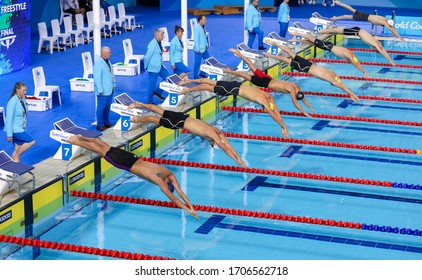 GOLD COAST, AUSTRALIA - APRIL 05, 2018 : Athlete jump to swimming during 2018 Gold Coast Commonwealth Games at Gold Coast Aquatic Centre.