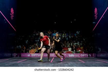 GOLD COAST, AUSTRALIA - APRIL 09, 2018 : Nicol David (right) of Malaysia competes with Colette Sultana of Malta during Squash event Gold Coast 2018 Commonwealth Games.