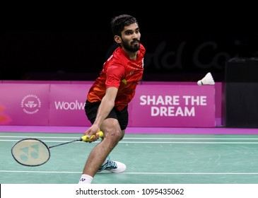 GOLD COAST, AUSTRALIA - APRIL 15, 2018 : Srikanth Kidambi of India competes against Lee Chong Wei of Malaysia during the men's singles final match Gold Coast 2018 Commonwealth Games at Carrara.