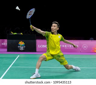 GOLD COAST, AUSTRALIA - APRIL 15, 2018 : Lee Chong Wei of Malaysia competes against Srikanth Kidambi of India during the men's singles final match Gold Coast 2018 Commonwealth Games at Carrara.