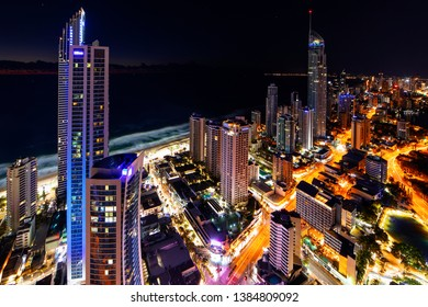 GOLD COAST, AUSTRALIA - APRIL 7 2019: Surfers Paradise aerial nightscape with the Q1 and Soul buildings