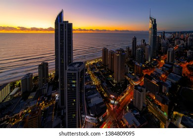 GOLD COAST, AUSTRALIA - APRIL 7 2019: Surfers Paradise aerial at sunrise with the Q1 and Soul buildings