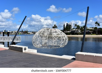 GOLD COAST, AUSTRALIA, April 8, 2018: The Urchins, large crocheted sculptures designed by Choi+Shine Architects, are on display in Surfers Paradise, Gold Cost on April 8, 2018.