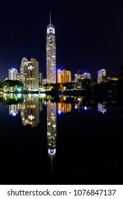 GOLD COAST, AUSTRALIA - APRIL 9 2018: Gold Coast Q1 on a clear night sky with reflections on the waterfront