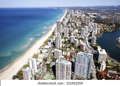 Gold Coast, Australia - AUG 23: Aerial view of the famed Gold Coast in Queensland Australia looking from Surfers Paradise down to Coolangatta. August 23, 2013 Gold Coast, Australia