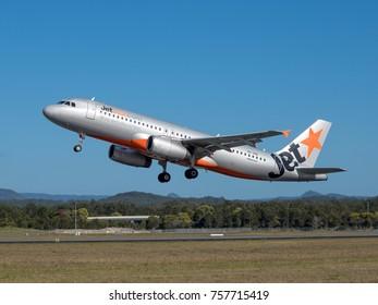 Gold Coast, Australia - August 26 2017. Jetstar Airways Airbus A320 VH-VQG taking off from Gold Coast Airport