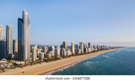 GOLD COAST, AUSTRALIA - AUGUST 4 2018: Surfers Paradise skyline and famous beach viewed from above.