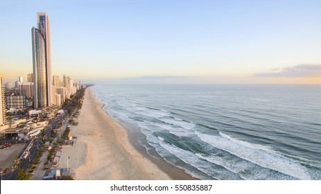 GOLD COAST, AUSTRALIA - DECEMBER 17 2016:Aerial view of Gold Coast Surfers Paradise and coastline at sunrise