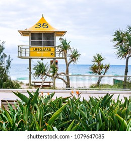 GOLD COAST, AUSTRALIA - December 27th, 2013: lifeguard huts on the beach in Surfers Paradise in Gold Coast, a popular destination in Queensland