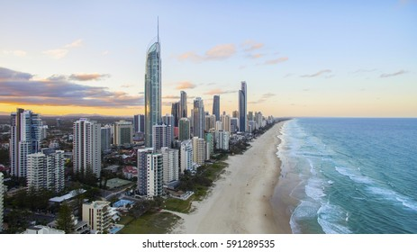 GOLD COAST, AUSTRALIA - FEBRUARY 16 2017: Aerial view of sunset over Surfers Paradise and beach with Q1 and Soul buildings. Gold Coast Australia