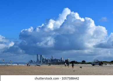 GOLD COAST, AUSTRALIA, February 4 2018: View on the Gold Coast skyline from the Spit