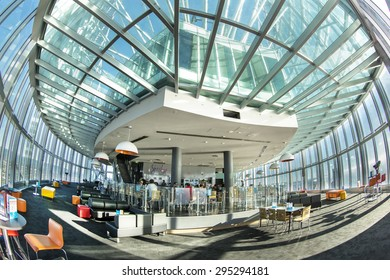 GOLD COAST, AUSTRALIA - FEBRUARY 5 2015: Gold Coast Q1 observation deck and Seventy7 Cafe and Bar with building architecture, Fisheye view