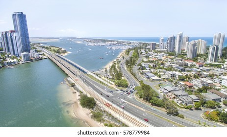 GOLD COAST, AUSTRALIA - JANUARY 10 2017:  Aerial view of traffic on Gold Coast highway, Sundale bridge and Southport surrounds with Main beach.