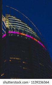 GOLD COAST, AUSTRALIA - January 10th, 2015: the top of the Q1 building in Surfers Paradise by night
