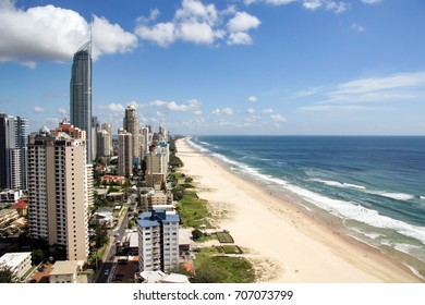Gold Coast, Australia - January 24, 2006: Morning landscape with the magnificent Q1 building standing above the rest of the city