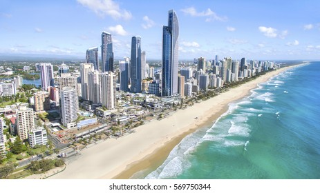 GOLD COAST, AUSTRALIA - JANUARY 31 2017: Aerial view of Surfers Paradise and beach on a sunny day.