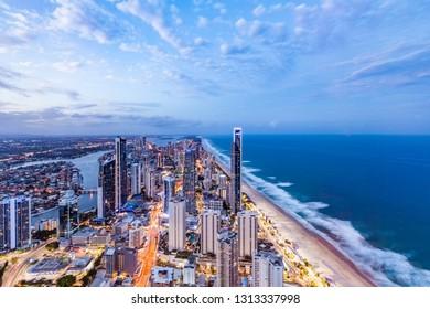 Gold Coast, Australia - January 6, 2019: City skyline at dusk