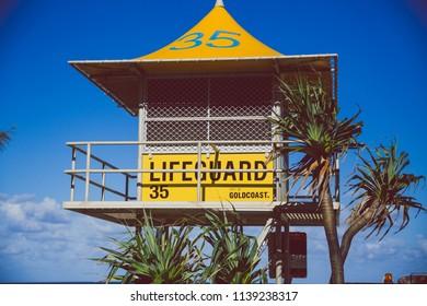 GOLD COAST, AUSTRALIA - January 6th, 2015: yellow lifeguard hut in Surfers Paradise's main beach