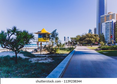 GOLD COAST, AUSTRALIA - January 6th, 2015: buildings in front of the beach in SUrfers Paradise along the main seaside walk