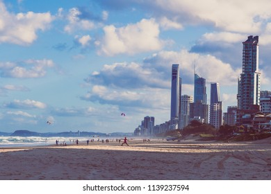 GOLD COAST, AUSTRALIA - January 7th, 2015: view of Main Beach in Gold Coast, the area features golden sand and high-rise buildings overlooking the Pacific Ocean