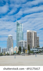 Gold Coast, Australia - July 11, 2017: Q1 building in Surfers Paradise contains the Skypoint observation deck. It is a major Gold Coast landmark.