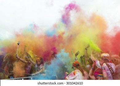 GOLD COAST, AUSTRALIA - JULY 26 2015: The Color Run is a worldwide hosted fun race with about 7500 competitors in Gold Coast.