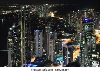 GOLD COAST, AUSTRALIA - JULY 9 2017: Surfers Paradise skyline cityscape at night, view from the Q1 observation desk.