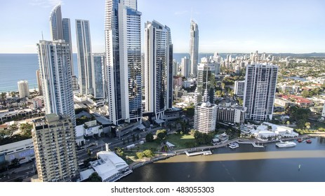 GOLD COAST, AUSTRALIA - JUNE 21 2016: Surfers Paradise city centre's famous skyline viewed from above.