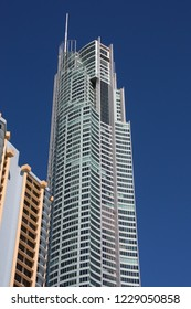 GOLD COAST, AUSTRALIA - MARCH 25, 2008: Q1 Tower in Gold Coast, Australia. The building finished in 2005 is 323m tall and is world's 3rd tallest residential tower (2011).