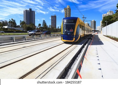 GOLD COAST AUSTRALIA - MARCH 29:  Brand new  light rail on test run (not yet open for the public), under  commissioning  at Surfers Paradise on March 29, 2014  Australia