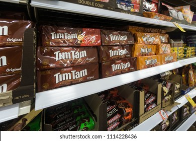 Gold Coast, Australia - May 09 2018: Tim Tam chocolate biscuits with various flavor are displayed in a supermarket.