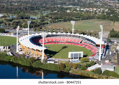 GOLD COAST, AUSTRALIA – MAY 22: Aerial view of Metricon Stadium on May 22, 2011 in Gold Coast, Australia.   If Australia wins the bid, the venue will host the 2018 Commonwealth Games, and is the home of the Gold Coast Suns AFL Team.