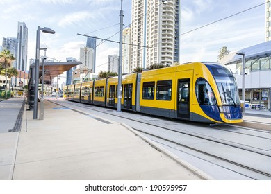 GOLD COAST, AUSTRALIA - MAY 3 2014: Gold Coast G:Link is a integrated tram system that connects the Gold Coast University Hospital and Griffith University  to Surfers Paradise an  Broadbeach.