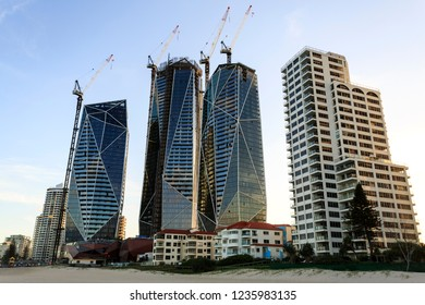 GOLD COAST, AUSTRALIA – November 13, 2018:  The luxurious Jewel tower complex under construction in Broadbeach, Gold Coast, Australia