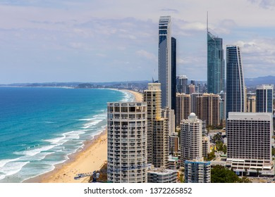 GOLD COAST, AUSTRALIA - NOVEMBER 17 2018: Surfers Paradise citscape, southerly aerial view with the Q1, Soul and Hilton buildings