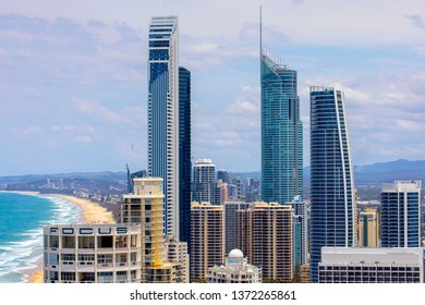 GOLD COAST, AUSTRALIA - NOVEMBER 17 2018: Surfers Paradise citscape, southerly aerial view with the Q1, Soul and Hilton buildings with a zoomed in close view