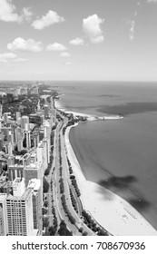Gold Coast, Chicago. Black and white vintage style.