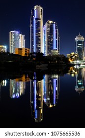 Gold Coast city scape and Mantra buildings by night.