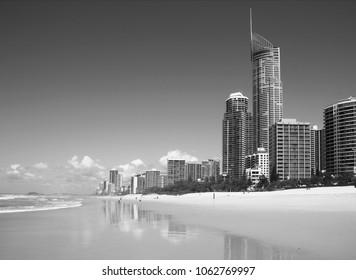 Gold Coast City skyline with beach in Australia. Black and white retro style.