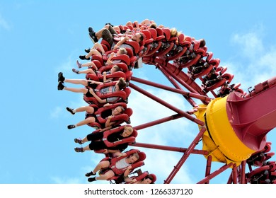 GOLD COAST - DEC 19 2018:People rides on the Claw an Intamin Gyro Swing at Dreamworld in Gold Coast Queensland, Australia.It's one of the The most powerful pendulum ride in the world.