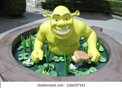 GOLD COAST - DEC 19 2018:Shrek character sits in a Swamp Bath in Dreamworld. Shrek won the first ever Academy Award for Best Animated Feature.